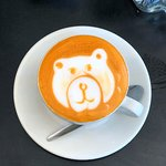 The Red Cappuccino with a little art for Brini Bear.