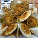 Clams in En Salsa De Casa sauce (Clams in a Tomato Garlic). Clams were large and plentiful.