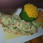 Ave Marina chicken dish (Chicken Breast Stuffed with shrimps in a white sauce. Accompanied by a