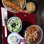Delicious udon, salad and tempura w/ giant shrimp