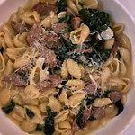 Orecchiette with Italian sausage and spinach