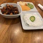 Tzatziki: 3 types of hummus and dry rub chicken