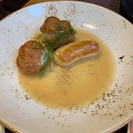 Salmon sausage in fish sauce with eclairs