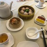 Ha Gow (prawns in a rice-wheat starch noodle) and a special crab prawn dumpling, plus wonderful