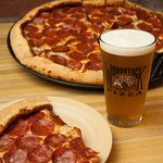 Beer and pizza.