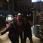 dancing at the hut.