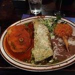 #17-chili relleno, pork and green chili verde burrito and rice and beans.