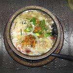 Soupe d'asperges crabes et crevettes, délicieuse!