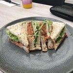 Red salmon sandwich