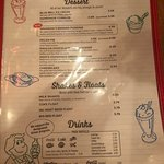 Menu - Desserts and Drinks