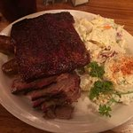 2 meat combo (2nd cut brisket & sausage) with a side of pork ribs, potato salad and cole slaw
