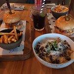 Burgers and mushroom fettucini