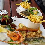 Seafood Tasting Plate and Grilled Snapper