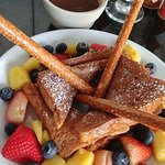 French Toast Fondue with French Toast, pretzel sticks, fresh fruit and warm maple cinnamon sauce