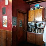 Coffee makers and rest room at Linda's Tavern.