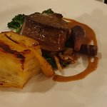 Mains: Ruby Red Devon Beef Fillet with pomme anna potato, tenderstem and Cep sauce