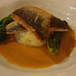 Mains: Pan Fried Seabass with colcannon mash and langoustine bisque
