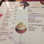 La carta dei dolci, caffè e digestivi