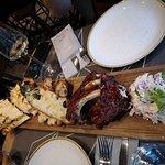 Sharing platter of quesadilla and ribs