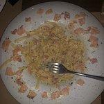 Inedible ham in the carbonara pasta!