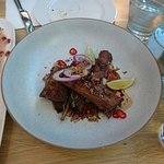 Crispy lamb ribs, braised in master stock, sticky glaze, fresh mint, lime and chili - Best dish