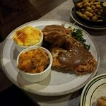 Southern Fried Pork Chops - Smothered with Mac & Cheese, Candied Yams, and Fried Okra