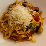 Fettuccine Verano - a light sauce of eggplant spinach and olives with a touch of white wine and