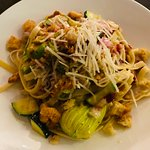 Pasta of the day - Fettuccine tossed in light cream sauce w/ zucchini and pancetta finished with