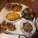 gambas au combawa - assiette du soleil - vitello tonato-sandwich de Yann