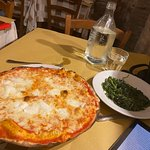 Bufalina pizz and side of chicoria