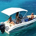 Trimarchi 53S-a deluxe boat with shower and music to travel your family and friends all around Paxos and Antipaxos