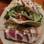 Seared ahi tuna and shrimp tacos