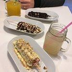 Raffaello, Kinder & Oreo dog, ginger syrup and mango lemonade
