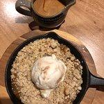 Toffee Apple Crumble, with hazelnut custard and toffee ripple ice cream