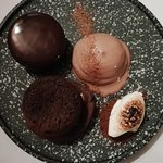 Chocolate assiette - chocolate cremeux, salted caramel fondant, chocolate soil, roasted white ch