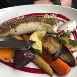 Sea Bass - fish of the day - herb crusted.
