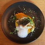 Mulet, crosnes, velouté de carottes au gingembre