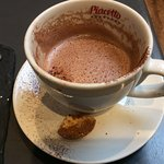 Sorry, half eaten macaroon and half drunk hot chocolate, but you can see how rich & frothy it re