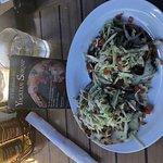 The chicken and bean tostadas - yum