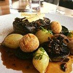 Aged Beef Angus tenderloin, confit shallots, cermini, smoked butter, pancetta