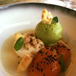 Vanilla poached apricots, almond jelly, pineapple and basil sorbet, streusel with The Taipa salt