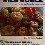 Menu description - Thai chili shrimp rice bowl