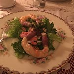 The salad course was pastry-wrapped asparagus with prosciutto served with lightly dressed greens