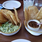 Freshly made chips, salsa and guacomole