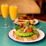 Bit a' brunch -- fluffy American Style Pancakes, avo on toast & mimosas