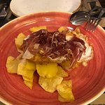 Fried eggs with Potatoes and Iberian Ham, Can Ramonet