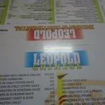 The menu back in 2012