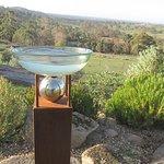 """Birdbath and Ball""by Manning Sculptures Protea Garden overlooking the  Sutton Grange Valley"