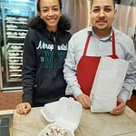Joseph and Ariana prepare a Bavarian Chocolate Pie slice for my client with Uber Eats, my family