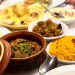 Clay Pot Lamb Curry, Pilau Rice, Naan Bread, Butter Chicken